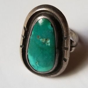 🎉HP🎉Old pawn Nevada mine turquoise silver ring